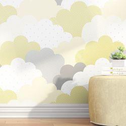 Papel de Parede Nuvem de Algodão Amarelo 3m