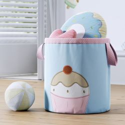 Cesto Organizador para Brinquedos Cupcake Cerejinha 24cm