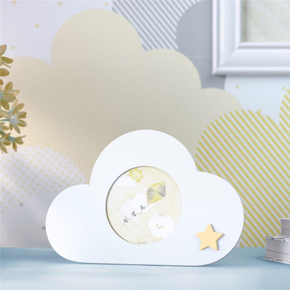 Porta Retrato MDF Branco Nuvem Estrelinha 7cm Grão de Gente