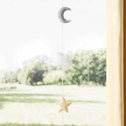 Pêndulo Cortina Estrela, Nuvem e Lua Amarelo