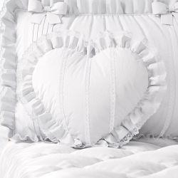 Almofada Coração com Babado e Renda Branca 30cm
