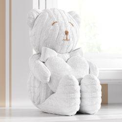Urso Tricot com Coração Branco 42cm