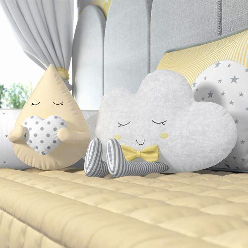 Almofadas Gotinha e Nuvem de Algodão com Gravata Amarelo 2 Peças