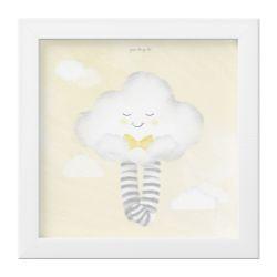 Quadro Nuvem de Algodão com Gravata Amarelo