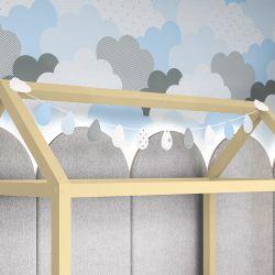 Varal Decorativo Gotinhas e Nuvens Azul 1,60m