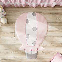 Tapete Balão Bordado Rosa e Cinza 1,05m