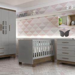 Quarto de Bebê Retrô Ayla Cinza/Amadeirado com Berço/Cômoda/Guarda-Roupa de 3 Portas