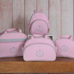 Conjunto de Bolsas Maternidade Glam Inicial do Nome Personalizada Rosa