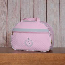 Mala Maternidade Glam Inicial do Nome Personalizada Rosa 45cm