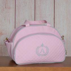 Bolsa Maternidade Glam Inicial do Nome Personalizada Rosa 40cm