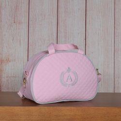Frasqueira Maternidade Glam Inicial do Nome Personalizada Rosa 24cm