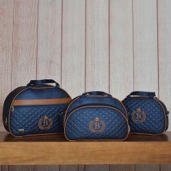 Conjunto de Bolsas Maternidade Glam Inicial do Nome Personalizada Azul Marinho