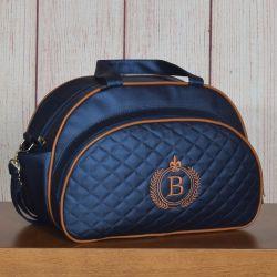 Bolsa Maternidade Glam Inicial do Nome Personalizada Azul Marinho 40cm