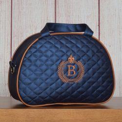 Frasqueira Maternidade Glam Inicial do Nome Personalizada Azul Marinho 24cm