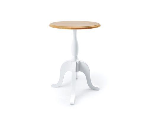 Mesa de Apoio Redonda Versailles Branco/ Mel 45cm
