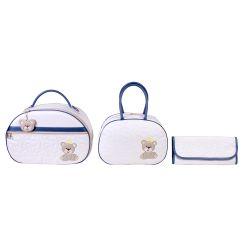 Conjunto de Bolsas Maternidade Arabesco Off White/Azul Marinho