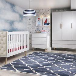 Quarto de Bebê Lorena Retrô Branco com Berço/Cômoda/Guarda-Roupa de 3 Portas