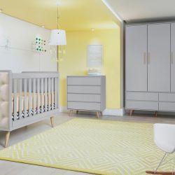 Quarto de Bebê Lorena Retrô Cinza com Berço/Cômoda/Guarda-Roupa de 3 Portas
