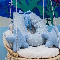 Almofada Amamentação Estrelinhas Azul