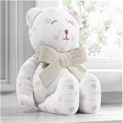 Urso Tricot Poá Bege 42cm