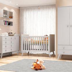 Quarto de Bebê Prime Vintage com Berço/Cômoda/Cama Babá/Guarda-Roupa de 3 Portas