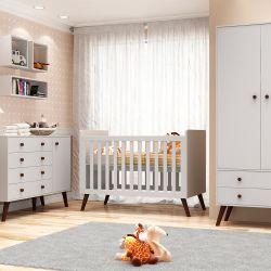 Quarto de Bebê Prime Vintage Branco Amadeirado com Berço/Cômoda/Cama Babá/Guarda-Roupa de 3 Portas