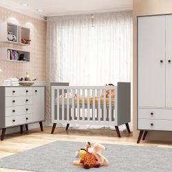 Quarto de Bebê Prime Vintage Cinza Amadeirado com Berço/Cômoda/Cama Babá/Guarda-Roupa de 3 Portas