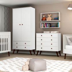 Quarto de Bebê Prime Vintage Branco Amadeirado com Berço/Cômoda/Cama Babá/Guarda-Roupa de 2 Portas
