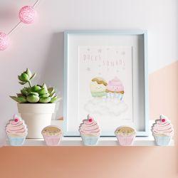 Prateleira MDF Cupcakes Doce Encanto