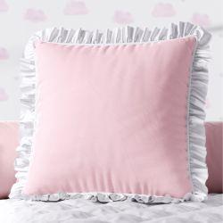 Almofada Quadrada Rosa Babadinho Branco 38cm