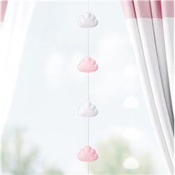 Pêndulo Cortina Nuvem Rosa/Branco