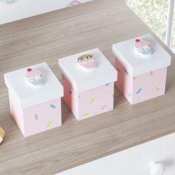 Jogo de Potes Cupcake Doce Encanto