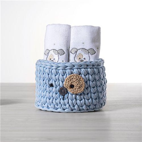 Cesto Organizador Maxi Crochê Cachorrinho Azul