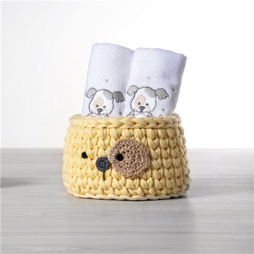 Cesto Organizador Maxi Crochê Cachorrinho Amarelo