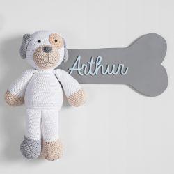 Porta Maternidade Personalizado Cachorrinho Amigurumi