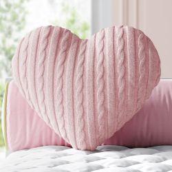 Almofada Coração Tricot Rosa 28cm