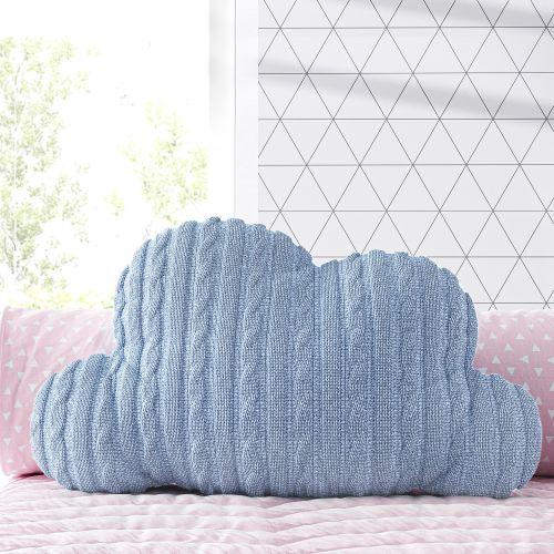 Almofada Nuvem Tricot Trança Azul 47cm