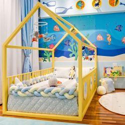 Cama Casinha Montessoriana Padrão Casal com Grade Amarela
