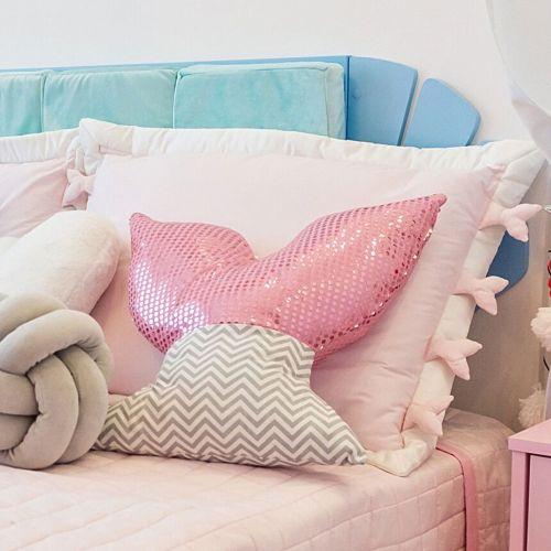 Capa de Travesseiro Infantil Sereia Rosa