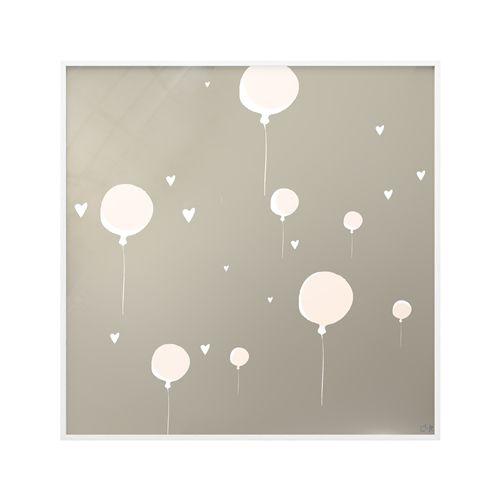 Quadro Vidro Balões e Corações Cinza
