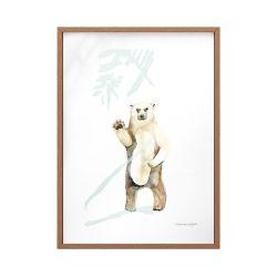 Quadro Vidro Urso Floresta