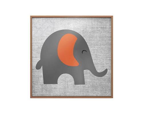 Quadro Vidro Elefante Cinza e Laranja