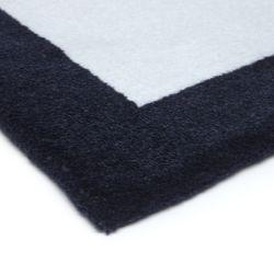 Tapete Retangular Azul Moldura Marinho
