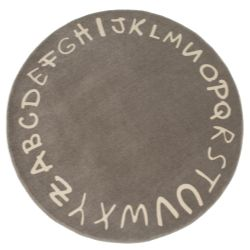 Tapete Redondo Taupe Alfabeto Bege 1,60m
