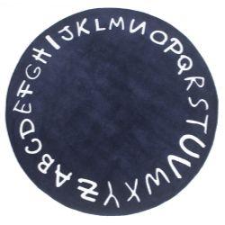 Tapete Redondo Marinho Alfabeto Branco 1,60m