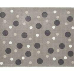Tapete Retangular Cinza Bolinhas Tricolor Branco 1,50m