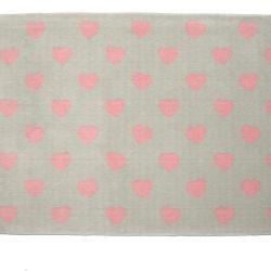 Tapete Retangular Cinza Coração Rosa 1,50m