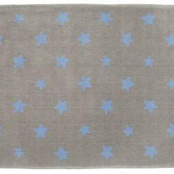 Tapete Retangular Cinza Estrela Azul 1,50m