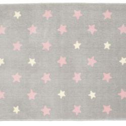 Tapete Retangular Cinza Estrela Rosa 1,50m