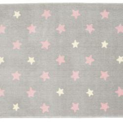 Tapete Retangular Cinza Estrela Rosa/Amarelo 1,50m